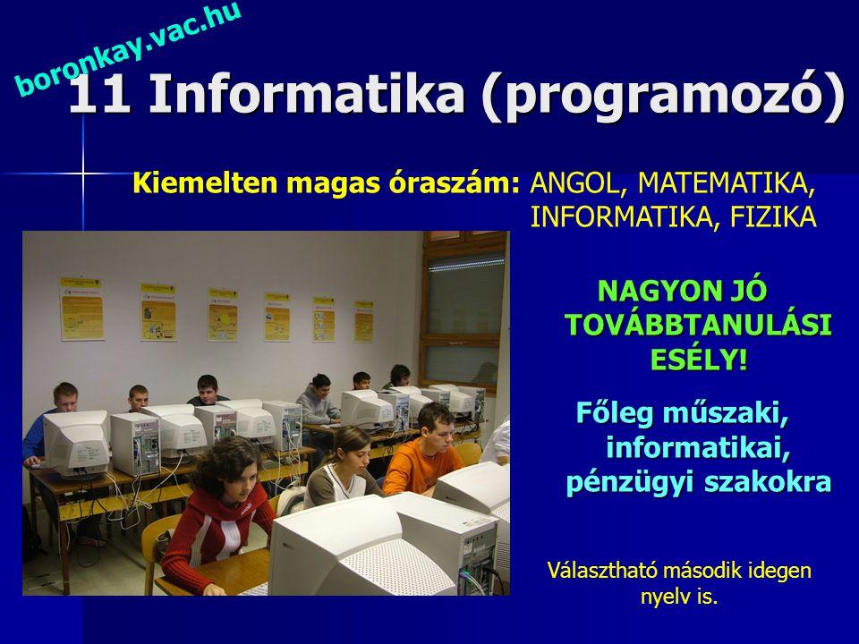 11 Informatika (programozó) NAGYON JÓ TOVÁBBTANULÁSI ESÉLY! Főleg műszaki, informatikai, pénzügyi szakokra boronkay.vac.hu Kiemelten magas óraszám: AN