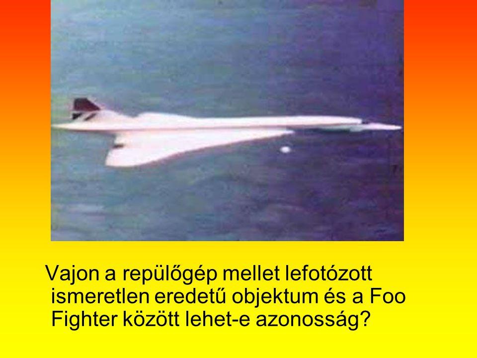 Vajon a repülőgép mellet lefotózott ismeretlen eredetű objektum és a Foo Fighter között lehet-e azonosság?