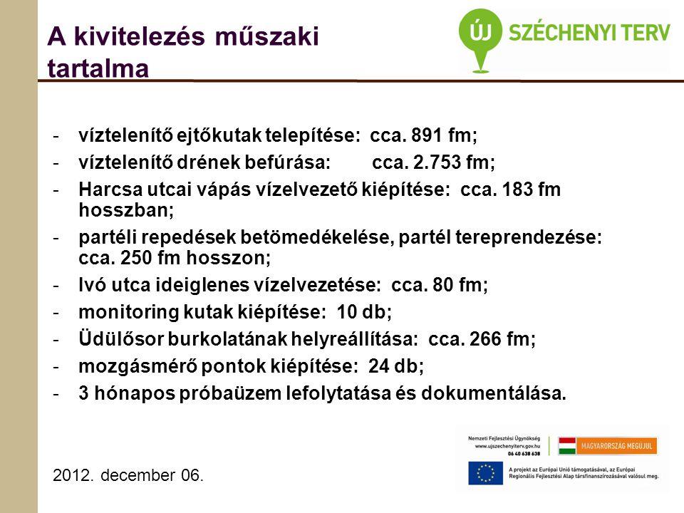 2012. december 06. A kivitelezés műszaki tartalma -víztelenítő ejtőkutak telepítése: cca.