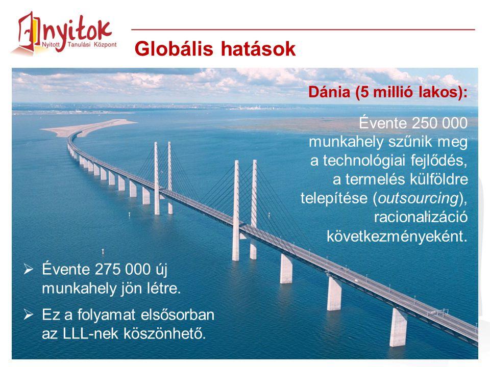 Dánia (5 millió lakos): Évente 250 000 munkahely szűnik meg a technológiai fejlődés, a termelés külföldre telepítése (outsourcing), racionalizáció köv