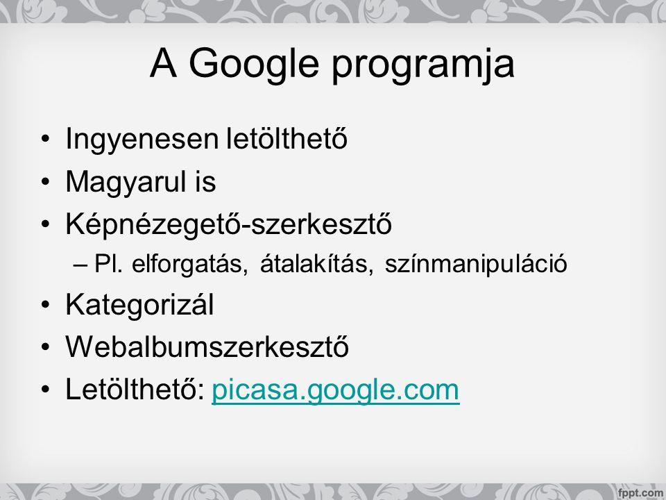 A Google programja •Ingyenesen letölthető •Magyarul is •Képnézegető-szerkesztő –Pl. elforgatás, átalakítás, színmanipuláció •Kategorizál •Webalbumszer