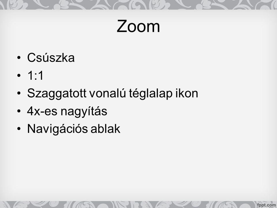 Zoom •Csúszka •1:1 •Szaggatott vonalú téglalap ikon •4x-es nagyítás •Navigációs ablak