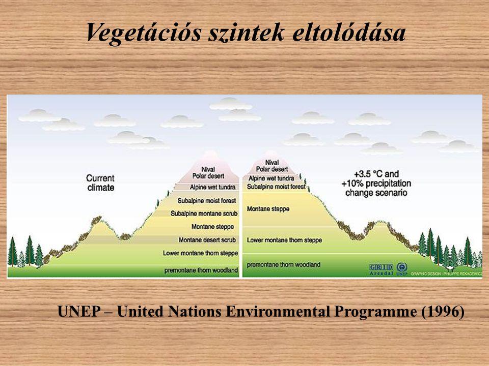 Vegetációs szintek eltolódása UNEP – United Nations Environmental Programme (1996)