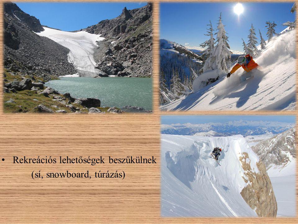 • Rekreációs lehetőségek beszűkülnek (sí, snowboard, túrázás)