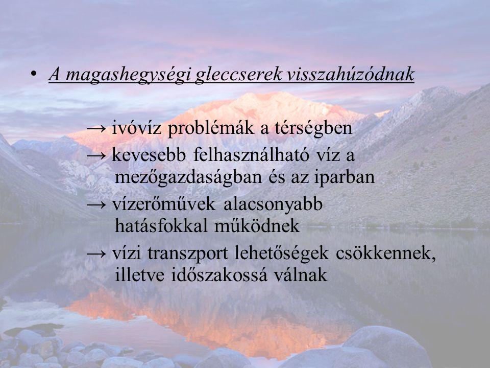 • A magashegységi gleccserek visszahúzódnak → ivóvíz problémák a térségben → kevesebb felhasználható víz a mezőgazdaságban és az iparban → vízerőművek