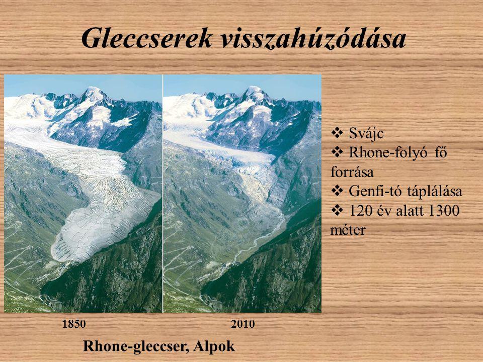 Gleccserek visszahúzódása 18502010 Rhone-gleccser, Alpok  Svájc  Rhone-folyó fő forrása  Genfi-tó táplálása  120 év alatt 1300 méter