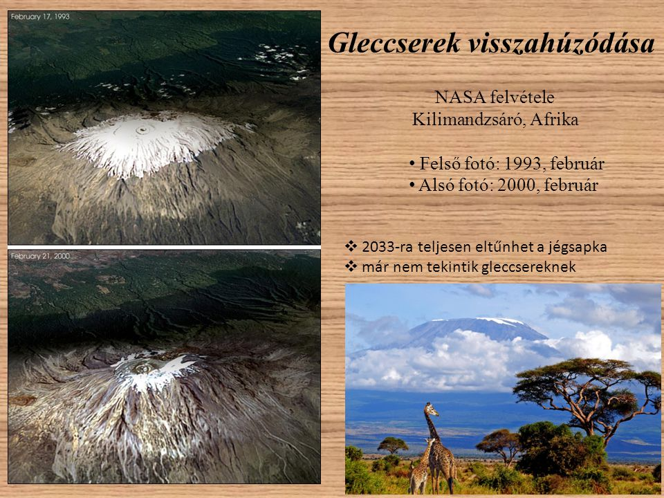 Gleccserek visszahúzódása NASA felvétele Kilimandzsáró, Afrika • Felső fotó: 1993, február • Alsó fotó: 2000, február  2033-ra teljesen eltűnhet a jé