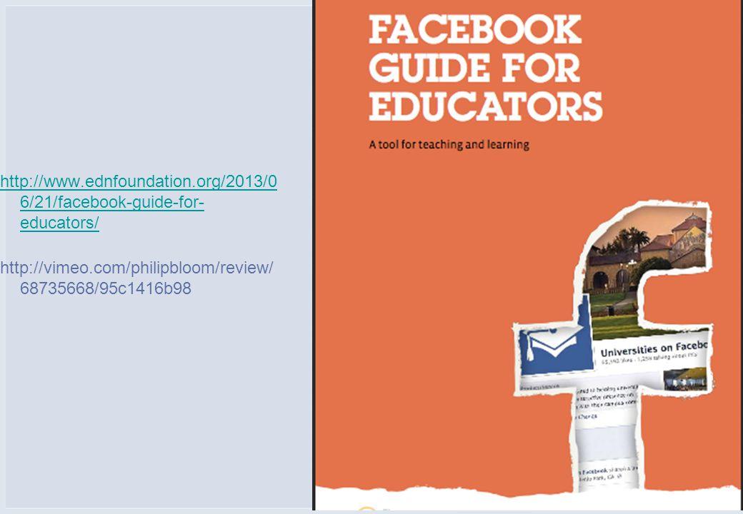 http://www.ednfoundation.org/2013/0 6/21/facebook-guide-for- educators/ http://vimeo.com/philipbloom/review/ 68735668/95c1416b98