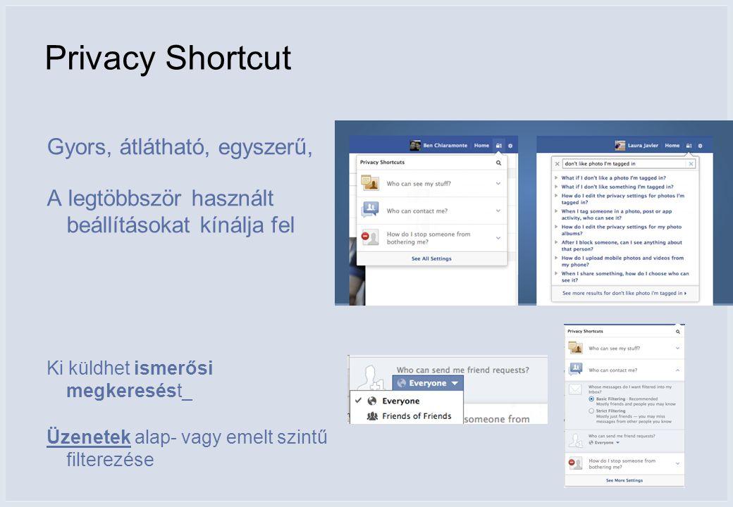 Privacy Shortcut Gyors, átlátható, egyszerű, A legtöbbször használt beállításokat kínálja fel Ki küldhet ismerősi megkeresést_ Üzenetek alap- vagy emelt szintű filterezése