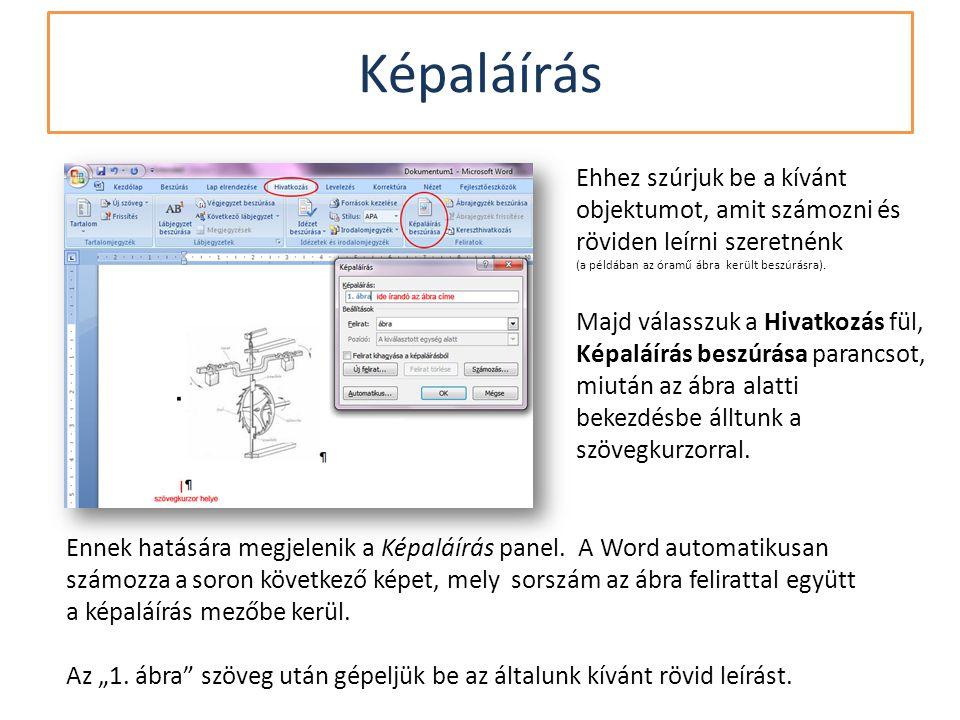 Ennek hatására megjelenik a Képaláírás panel. A Word automatikusan számozza a soron következő képet, mely sorszám az ábra felirattal együtt a képaláír