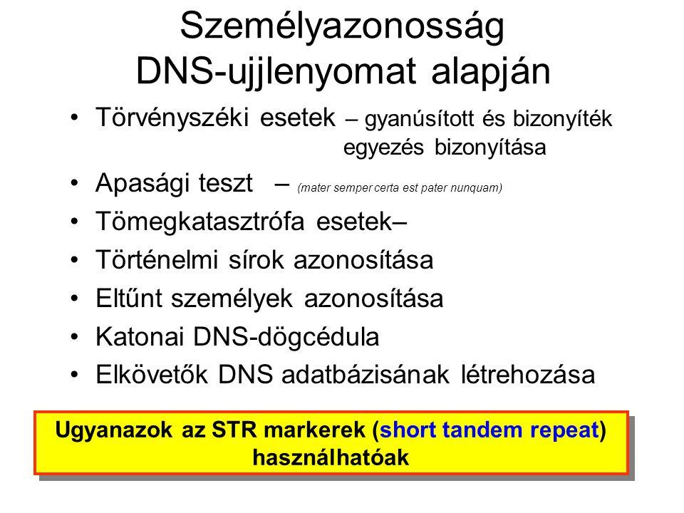 Személyazonosság DNS-ujjlenyomat alapján •Törvényszéki esetek – gyanúsított és bizonyíték egyezés bizonyítása •Apasági teszt– (mater semper certa est