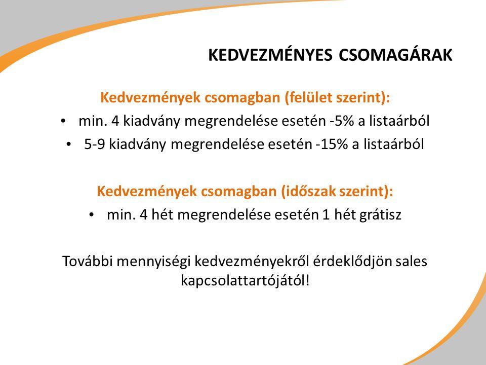 KEDVEZMÉNYES CSOMAGÁRAK Kedvezmények csomagban (felület szerint): • min. 4 kiadvány megrendelése esetén -5% a listaárból • 5-9 kiadvány megrendelése e