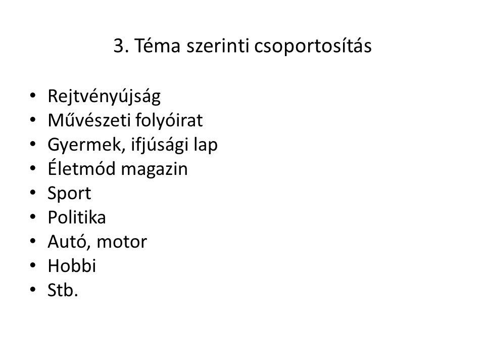 3. Téma szerinti csoportosítás • Rejtvényújság • Művészeti folyóirat • Gyermek, ifjúsági lap • Életmód magazin • Sport • Politika • Autó, motor • Hobb