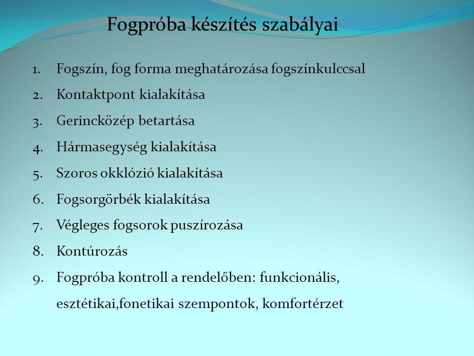 Fogpróba készítés szabályai 1.Fogszín, fog forma meghatározása fogszínkulccsal 2.Kontaktpont kialakítása 3.Gerincközép betartása 4.Hármasegység kialakítása 5.Szoros okklózió kialakítása 6.Fogsorgörbék kialakítása 7.Végleges fogsorok puszírozása 8.Kontúrozás 9.Fogpróba kontroll a rendelőben: funkcionális, esztétikai,fonetikai szempontok, komfortérzet