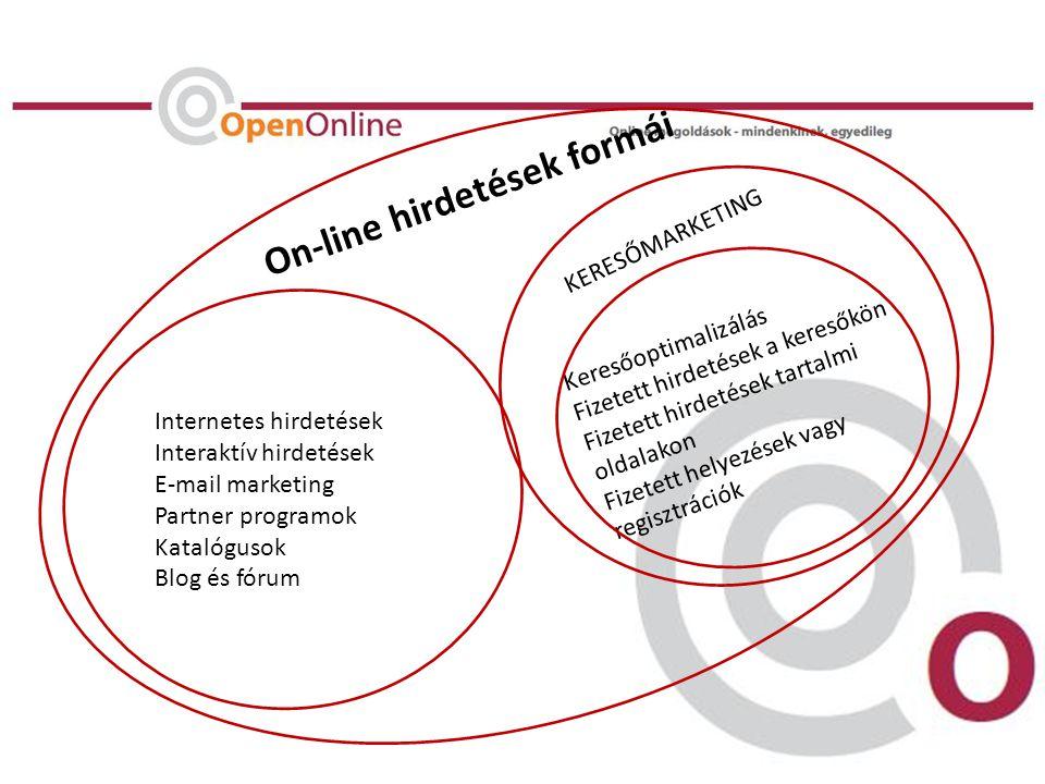 Keresőoptimalizálás Fizetett hirdetések a keresőkön Fizetett hirdetések tartalmi oldalakon Fizetett helyezések vagy regisztrációk Internetes hirdetések Interaktív hirdetések E-mail marketing Partner programok Katalógusok Blog és fórum On-line hirdetések formái KERESŐMARKETING