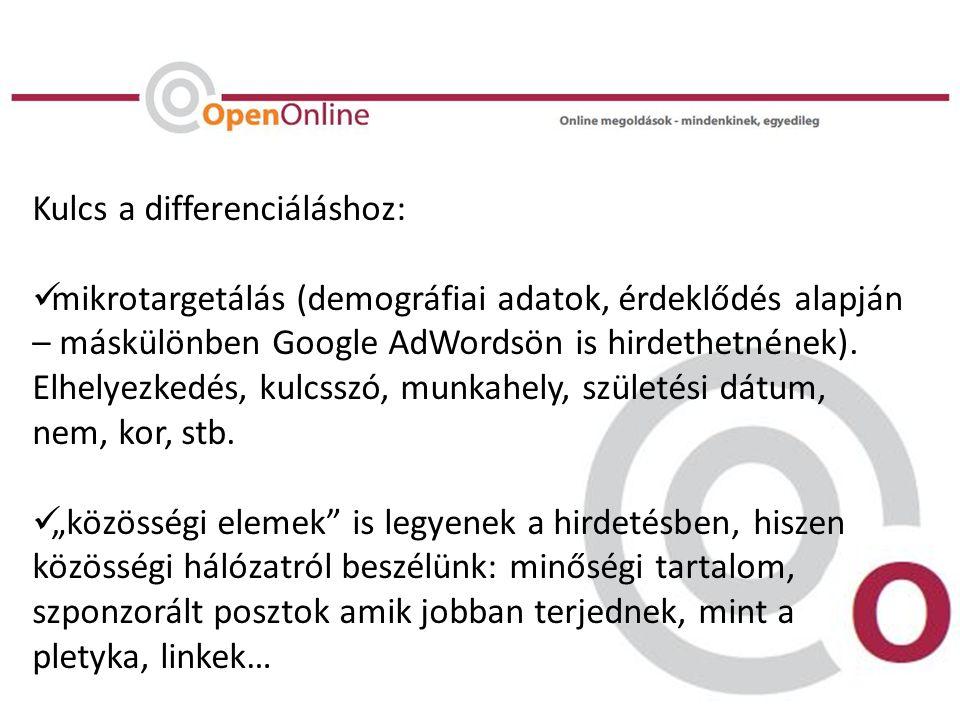 Kulcs a differenciáláshoz:  mikrotargetálás (demográfiai adatok, érdeklődés alapján – máskülönben Google AdWordsön is hirdethetnének).