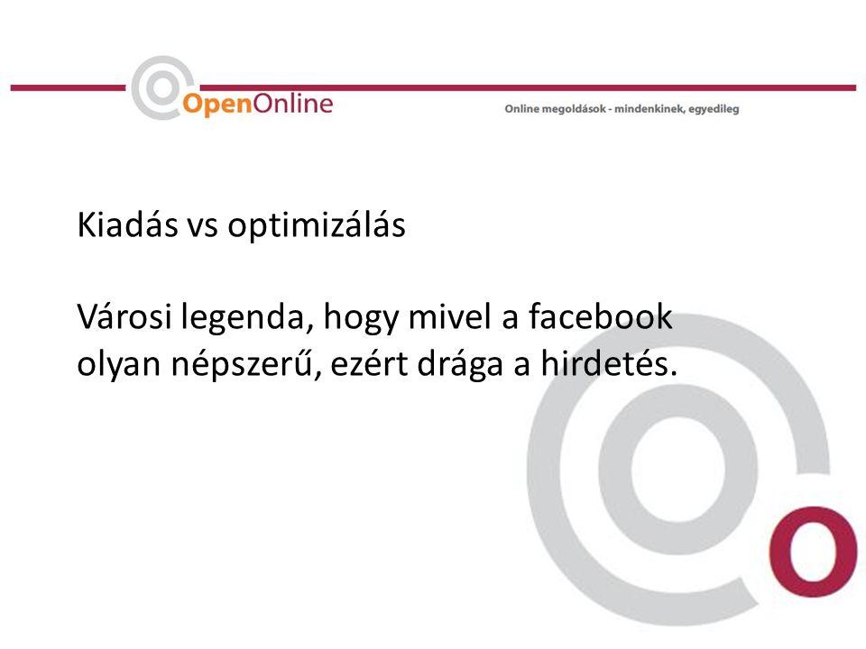 Kiadás vs optimizálás Városi legenda, hogy mivel a facebook olyan népszerű, ezért drága a hirdetés.