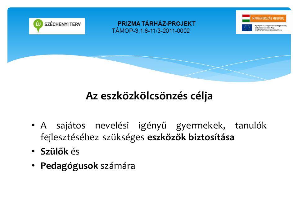 Az eszközkölcsönzés célja • A sajátos nevelési igényű gyermekek, tanulók fejlesztéséhez szükséges eszközök biztosítása • Szülők és • Pedagógusok számá