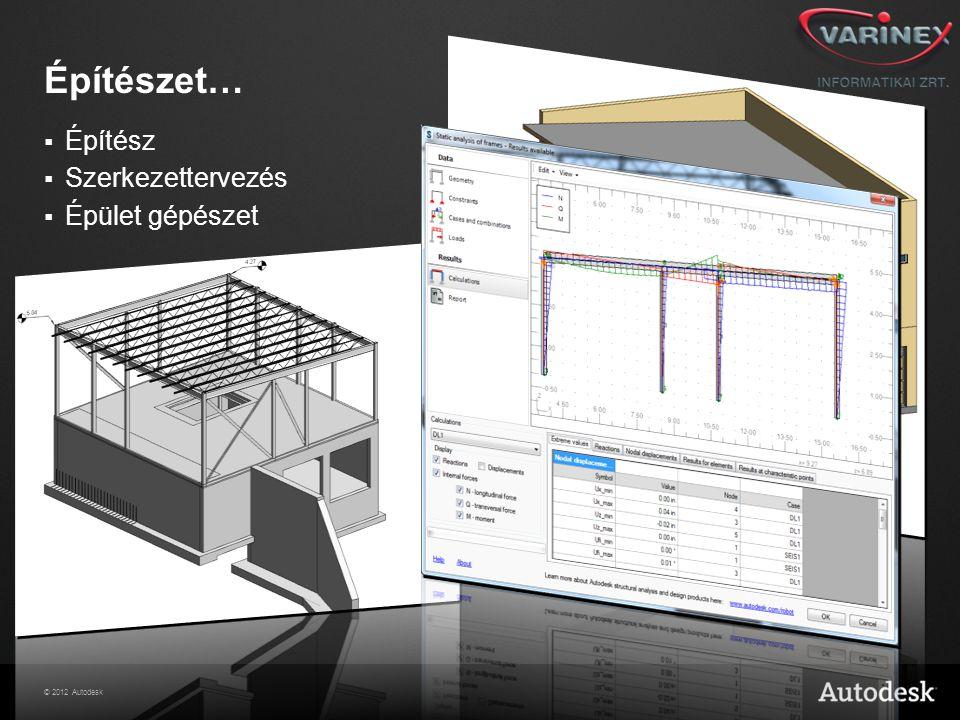 © 2012 Autodesk Építészet…  Építész  Szerkezettervezés  Épület gépészet