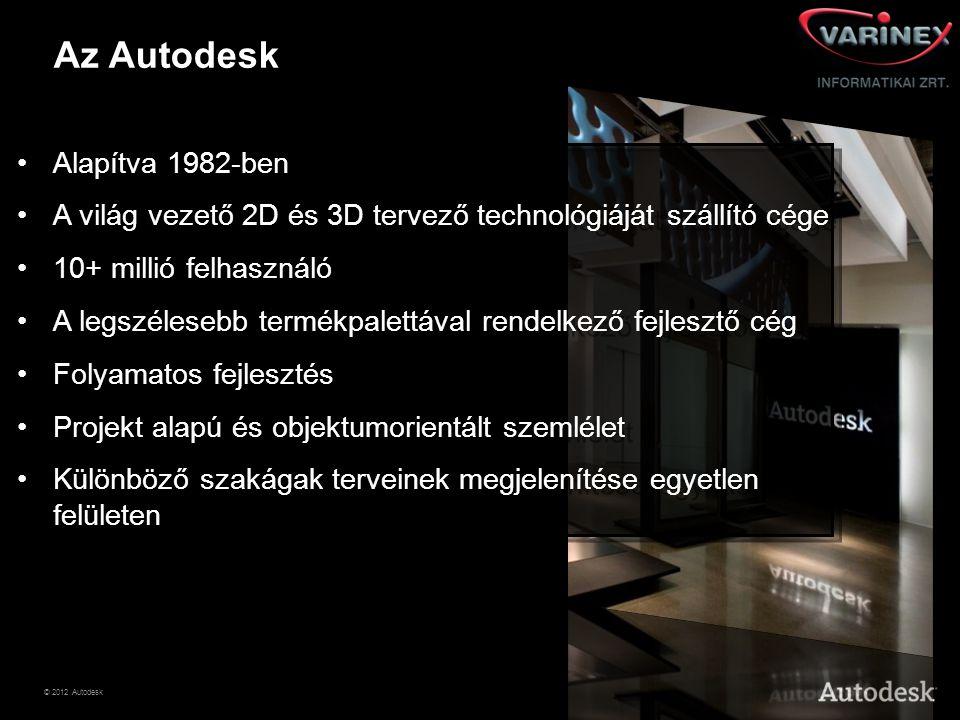 © 2012 Autodesk Az Autodesk •Alapítva 1982-ben •A világ vezető 2D és 3D tervező technológiáját szállító cége •10+ millió felhasználó •A legszélesebb t