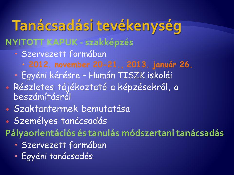 NYITOTT KAPUK - szakképzés  Szervezett formában  2012. november 20-21., 2013. január 26.  Egyéni kérésre – Humán TISZK iskolái  Részletes tájékozt