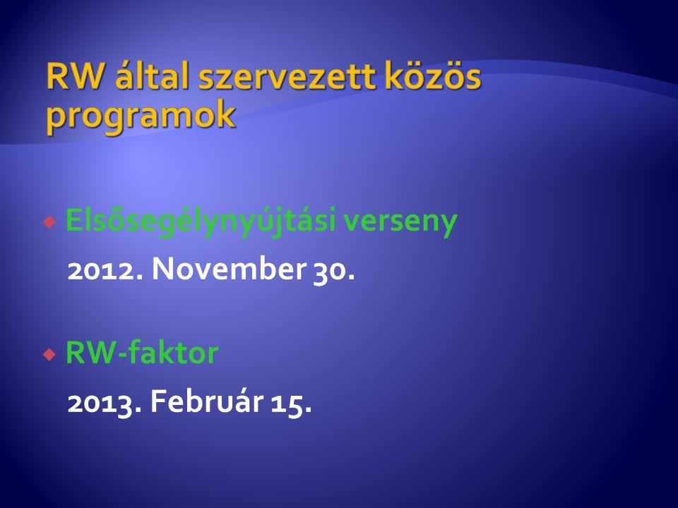  Elsősegélynyújtási verseny 2012. November 30.  RW-faktor 2013. Február 15.
