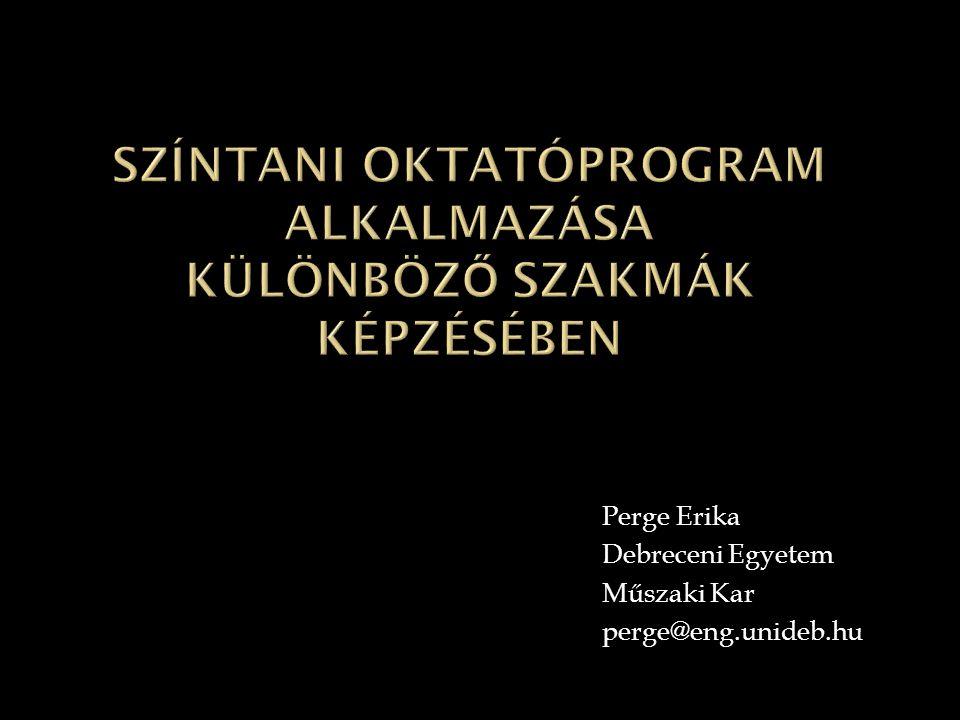 Perge Erika Debreceni Egyetem Műszaki Kar perge@eng.unideb.hu