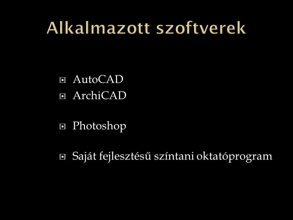  AutoCAD  ArchiCAD  Photoshop  Saját fejlesztésű színtani oktatóprogram