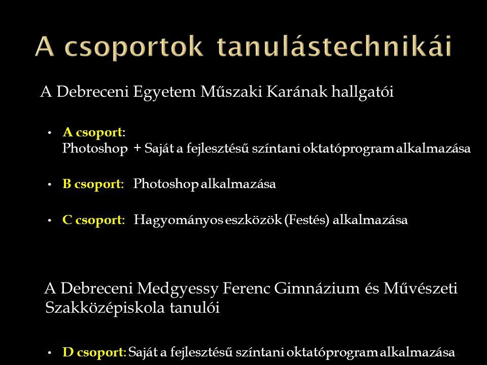 A Debreceni Egyetem Műszaki Karának hallgatói • A csoport : Photoshop + Saját a fejlesztésű színtani oktatóprogram alkalmazása • B csoport : Photoshop