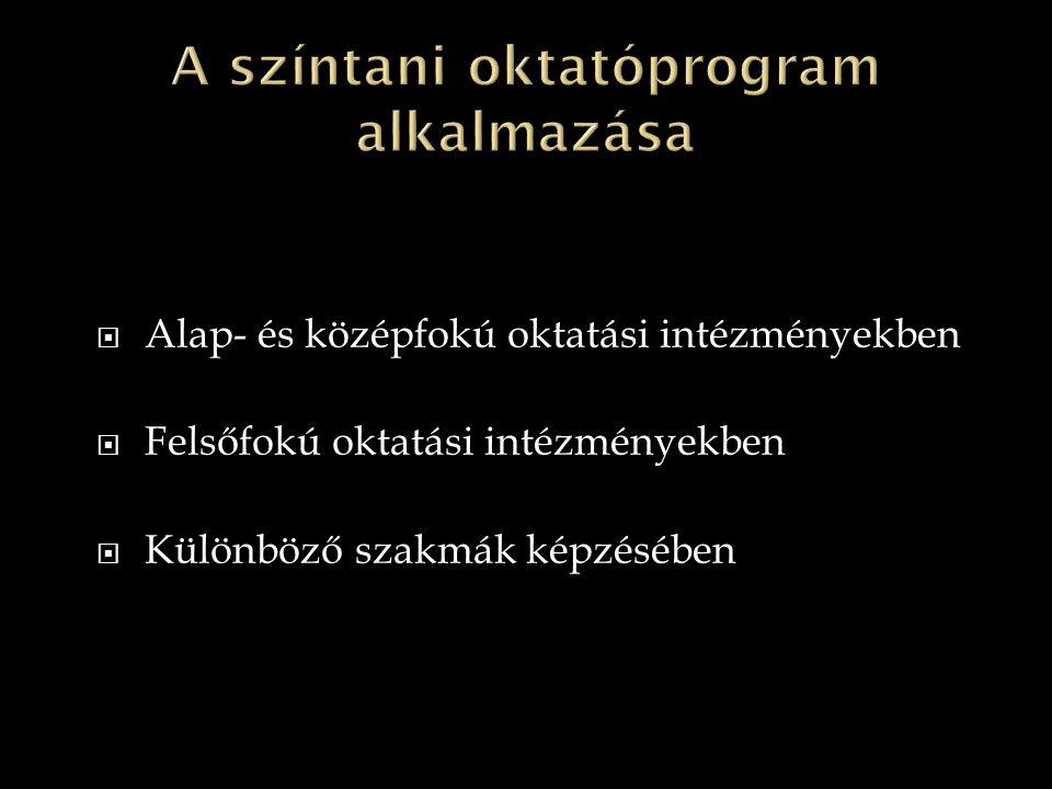  Alap- és középfokú oktatási intézményekben  Felsőfokú oktatási intézményekben  Különböző szakmák képzésében