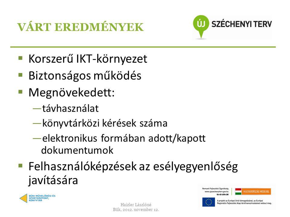  Korszerű IKT-környezet  Biztonságos működés  Megnövekedett: ―távhasználat ―könyvtárközi kérések száma ―elektronikus formában adott/kapott dokumentumok  Felhasználóképzések az esélyegyenlőség javítására VÁRT EREDMÉNYEK Haizler Lászlóné Bük, 2012.