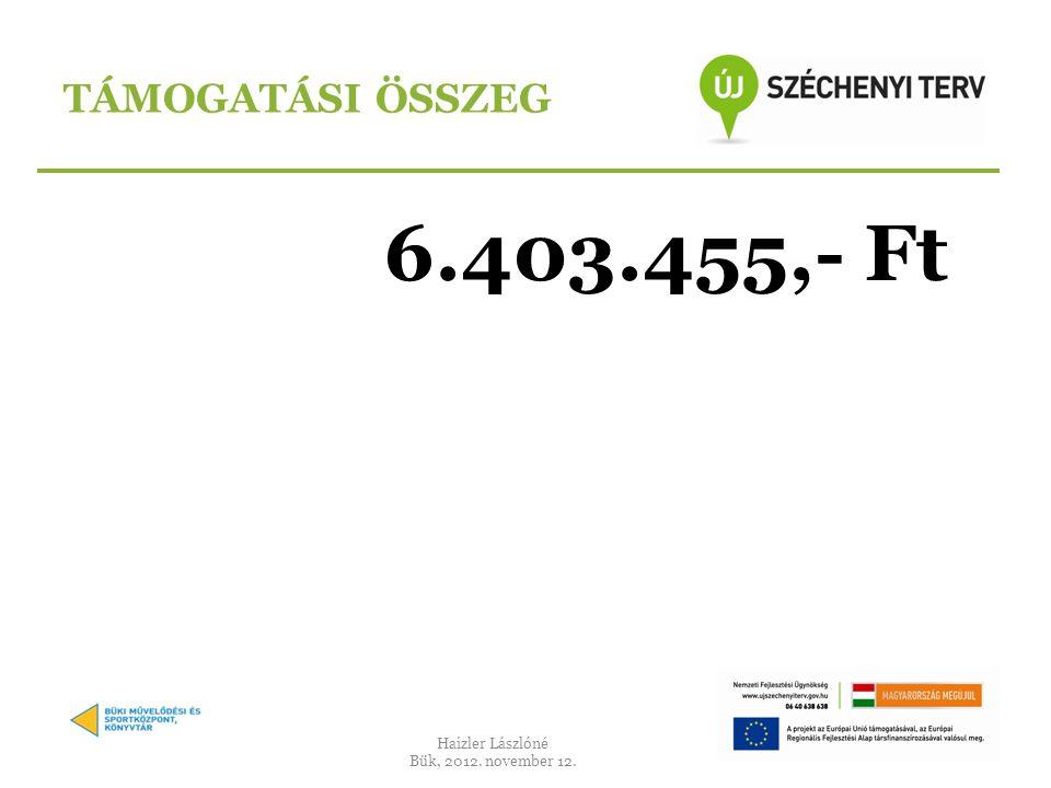 6.403.455,- Ft TÁMOGATÁSI ÖSSZEG Haizler Lászlóné Bük, 2012. november 12.