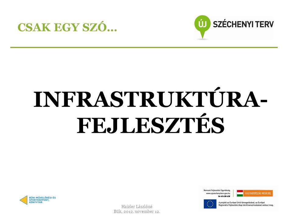 INFRASTRUKTÚRA- FEJLESZTÉS CSAK EGY SZÓ… Haizler Lászlóné Bük, 2012. november 12.