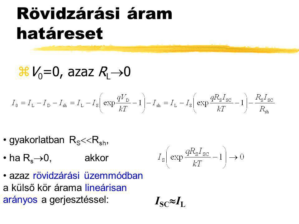 Rövidzárási áram határeset zV 0 =0, azaz R L  0 • gyakorlatban R S  R sh, • ha R s  0, akkor • azaz rövidzárási üzemmódban a külső kör árama lineá