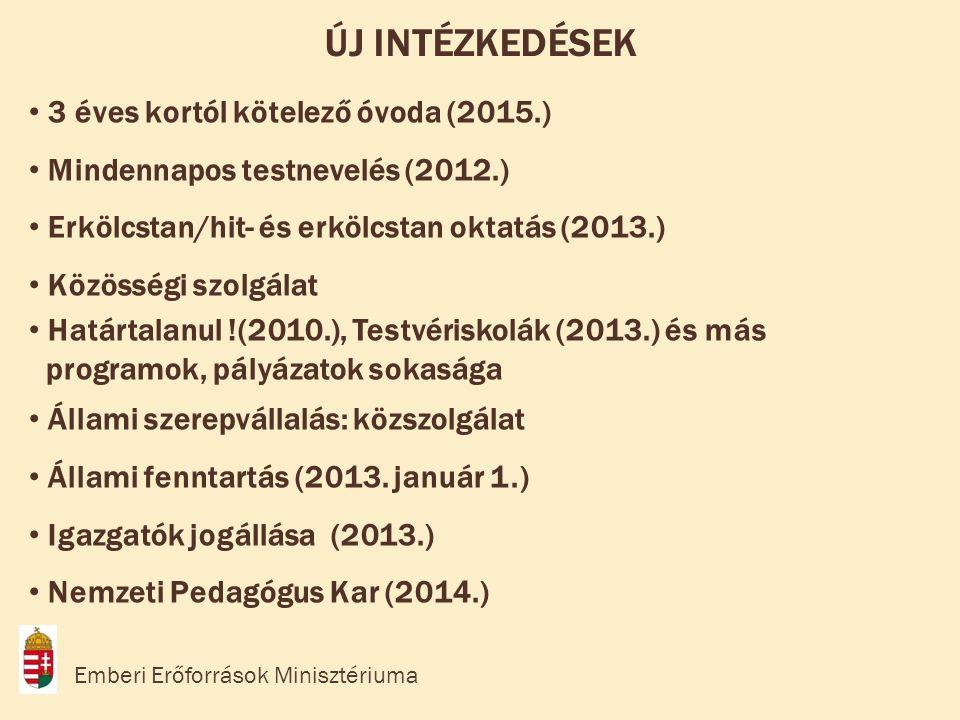 • 3 éves kortól kötelező óvoda (2015.) • Mindennapos testnevelés (2012.) • Erkölcstan/hit- és erkölcstan oktatás (2013.) • Közösségi szolgálat • Határtalanul !(2010.), Testvériskolák (2013.) és más programok, pályázatok sokasága • Állami szerepvállalás: közszolgálat • Állami fenntartás (2013.