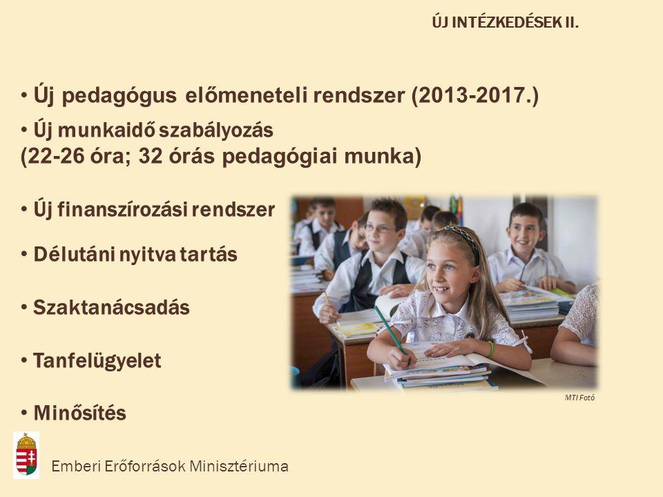 • Új pedagógus előmeneteli rendszer (2013-2017.) • Új munkaidő szabályozás (22-26 óra; 32 órás pedagógiai munka) • Új finanszírozási rendszer • Délutáni nyitva tartás • Szaktanácsadás • Tanfelügyelet • Minősítés Emberi Erőforrások Minisztériuma ÚJ INTÉZKEDÉSEK II.
