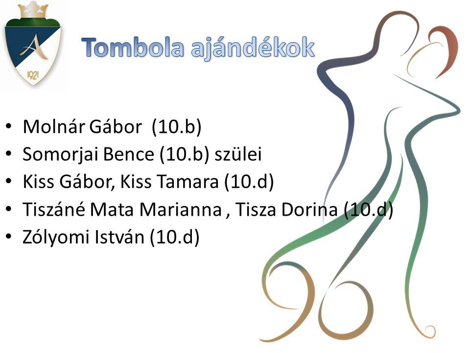 • Molnár Gábor (10.b) • Somorjai Bence (10.b) szülei • Kiss Gábor, Kiss Tamara (10.d) • Tiszáné Mata Marianna, Tisza Dorina (10.d) • Zólyomi István (10.d)