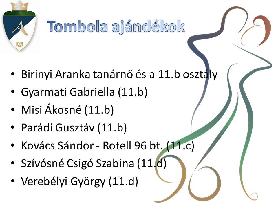 • Birinyi Aranka tanárnő és a 11.b osztály • Gyarmati Gabriella (11.b) • Misi Ákosné (11.b) • Parádi Gusztáv (11.b) • Kovács Sándor - Rotell 96 bt.
