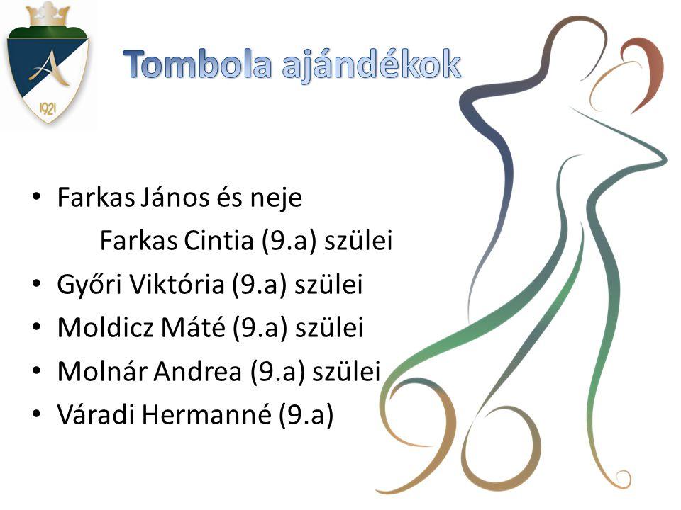 • Farkas János és neje Farkas Cintia (9.a) szülei • Győri Viktória (9.a) szülei • Moldicz Máté (9.a) szülei • Molnár Andrea (9.a) szülei • Váradi Hermanné (9.a)
