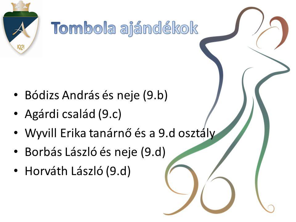 • Bódizs András és neje (9.b) • Agárdi család (9.c) • Wyvill Erika tanárnő és a 9.d osztály • Borbás László és neje (9.d) • Horváth László (9.d)
