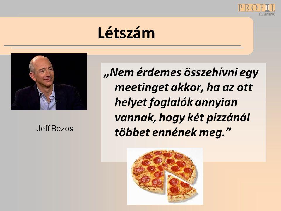 """Létszám """"Nem érdemes összehívni egy meetinget akkor, ha az ott helyet foglalók annyian vannak, hogy két pizzánál többet ennének meg."""" Jeff Bezos"""