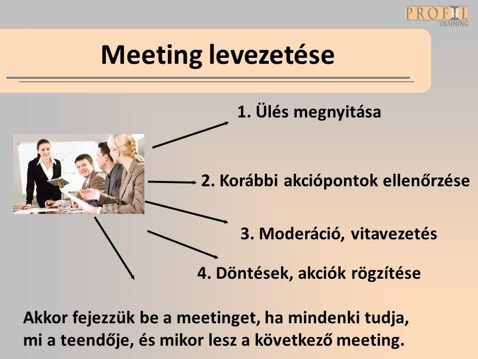 Meeting levezetése 1. Ülés megnyitása 4. Döntések, akciók rögzítése 3. Moderáció, vitavezetés Akkor fejezzük be a meetinget, ha mindenki tudja, mi a t
