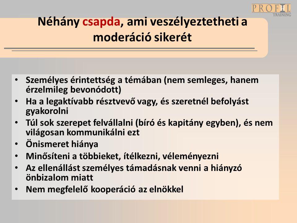 Néhány csapda, ami veszélyeztetheti a moderáció sikerét • Személyes érintettség a témában (nem semleges, hanem érzelmileg bevonódott) • Ha a legaktíva