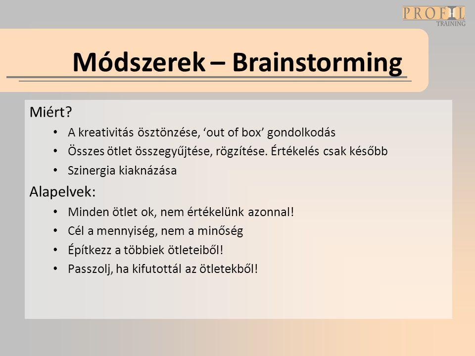 Módszerek – Brainstorming Miért? • A kreativitás ösztönzése, 'out of box' gondolkodás • Összes ötlet összegyűjtése, rögzítése. Értékelés csak később •