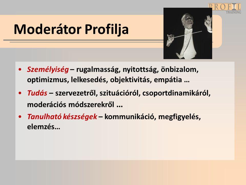 Moderátor Profilja •Személyiség – rugalmasság, nyitottság, önbizalom, optimizmus, lelkesedés, objektivitás, empátia … •Tudás – szervezetről, szituáció