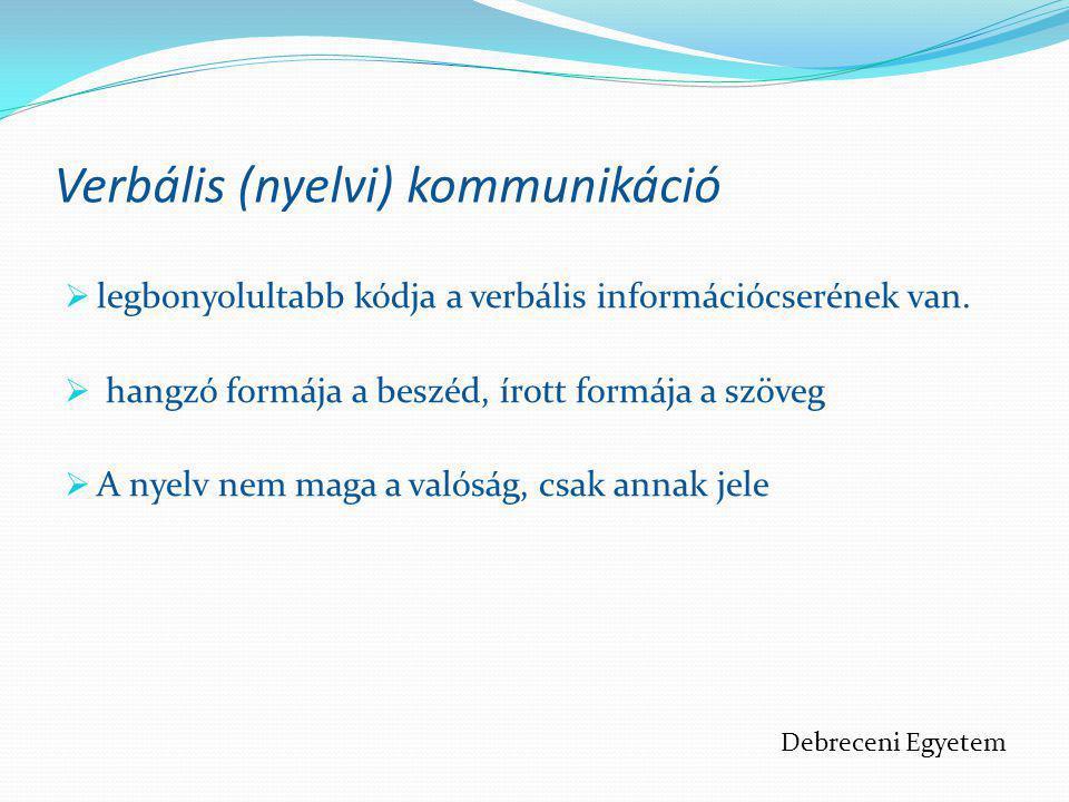 Verbális (nyelvi) kommunikáció  legbonyolultabb kódja a verbális információcserének van.  hangzó formája a beszéd, írott formája a szöveg  A nyelv