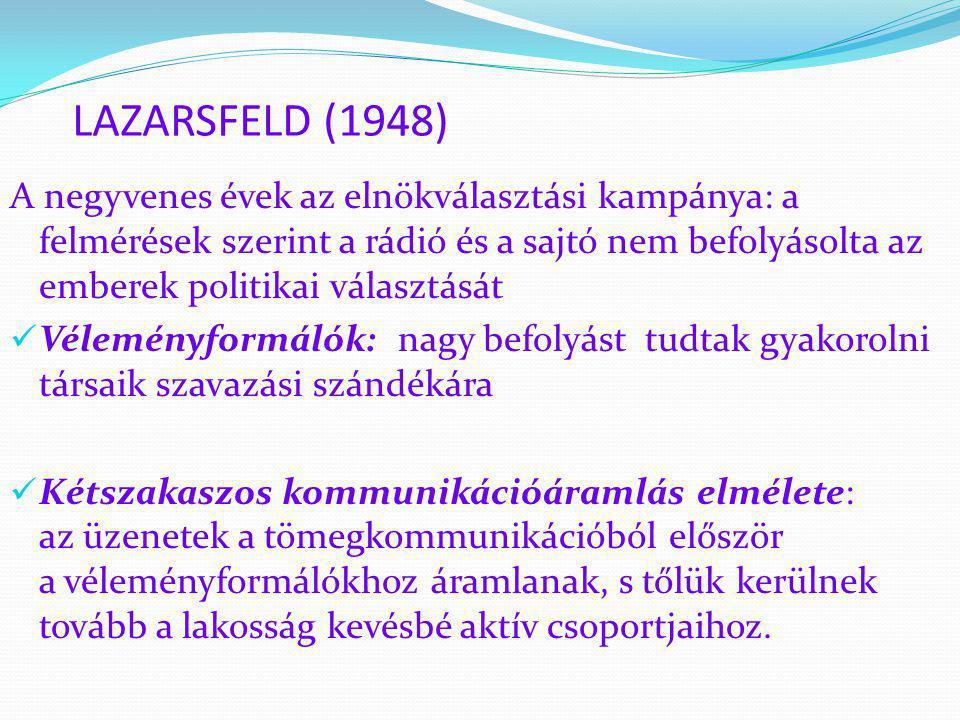 LAZARSFELD (1948) A negyvenes évek az elnökválasztási kampánya: a felmérések szerint a rádió és a sajtó nem befolyásolta az emberek politikai választá
