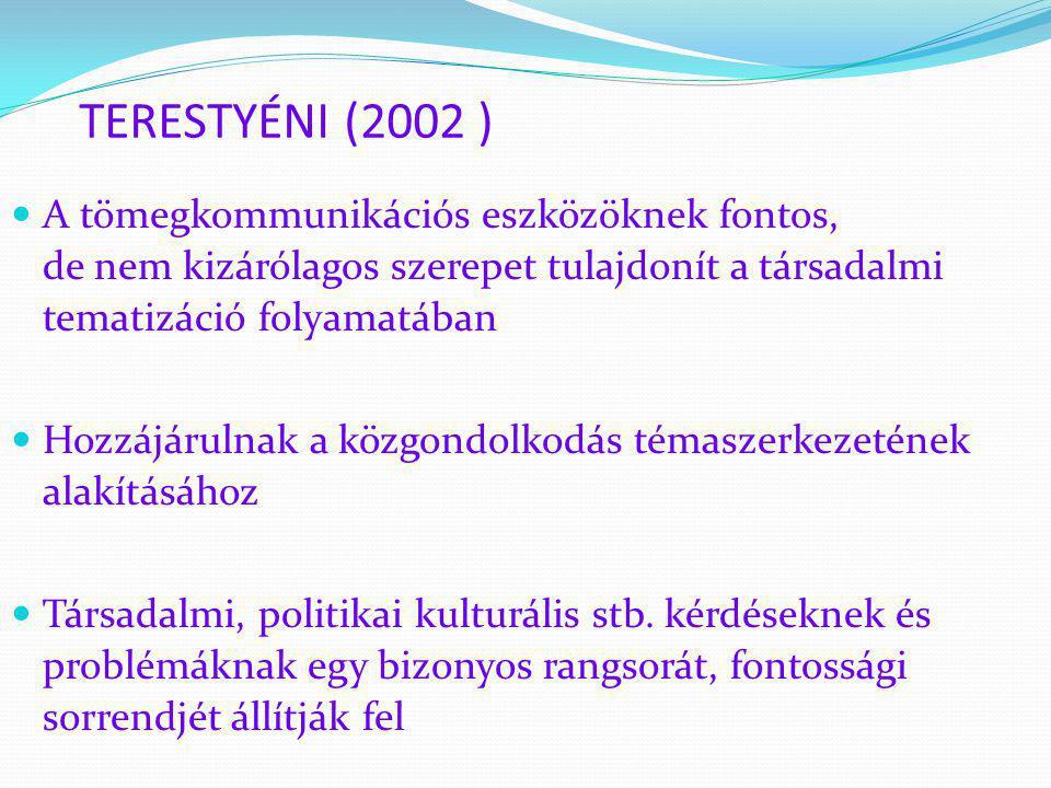 TERESTYÉNI (2002 )  A tömegkommunikációs eszközöknek fontos, de nem kizárólagos szerepet tulajdonít a társadalmi tematizáció folyamatában  Hozzájáru