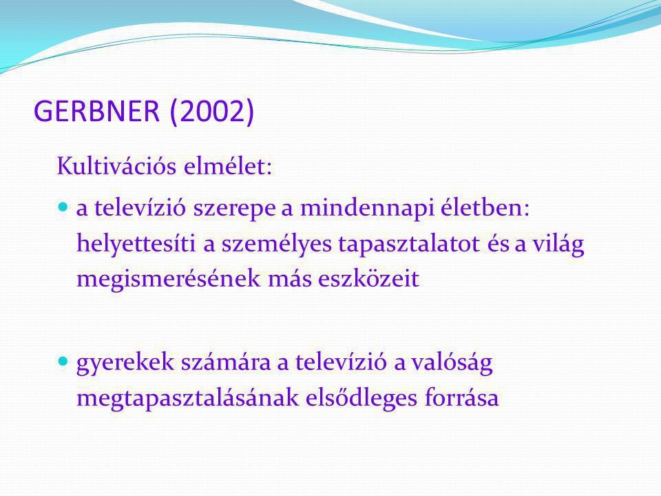 GERBNER (2002) Kultivációs elmélet:  a televízió szerepe a mindennapi életben: helyettesíti a személyes tapasztalatot és a világ megismerésének más e
