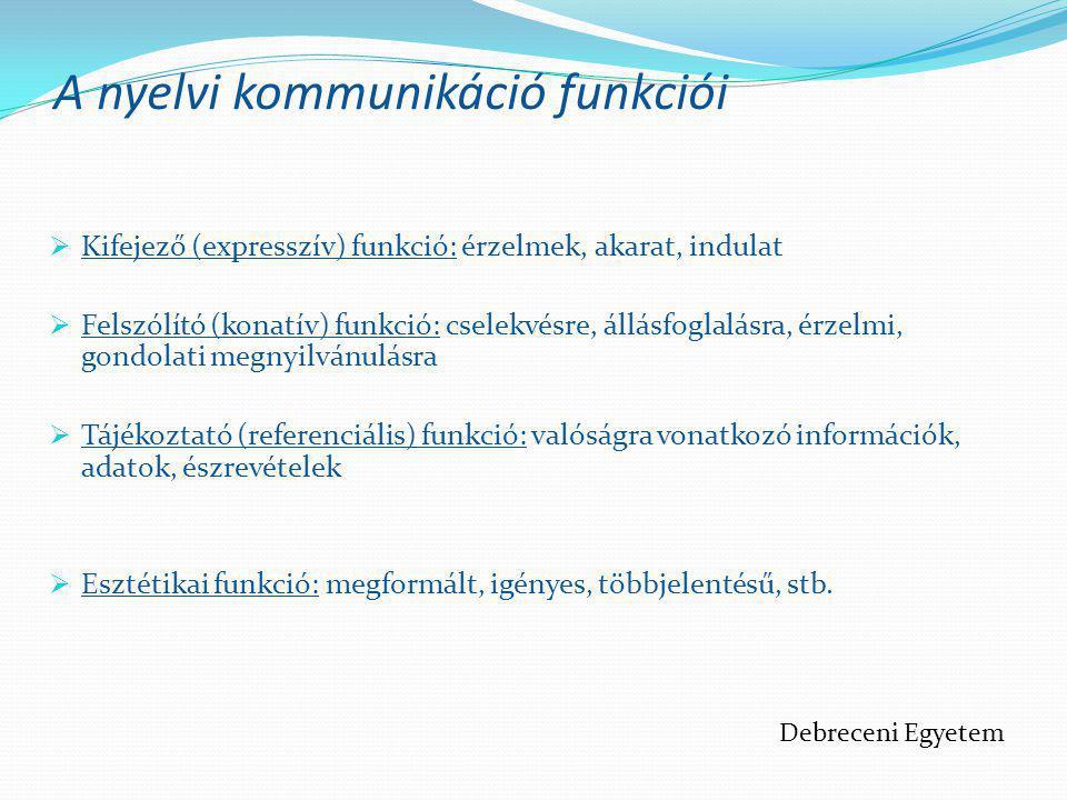 A nyelvi kommunikáció funkciói  Kifejező (expresszív) funkció: érzelmek, akarat, indulat  Felszólító (konatív) funkció: cselekvésre, állásfoglalásra